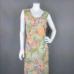 DRESSBARN SAGE GREEN FLORAL SHEATH DRESS